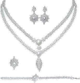 Aoligrace 2 Layers Leaf 4pcs Pearls Zirconia Bridal Jewelry Sets Luxury Dubai Nigeria CZ Crystal Wedding Jewelry Sets for ...