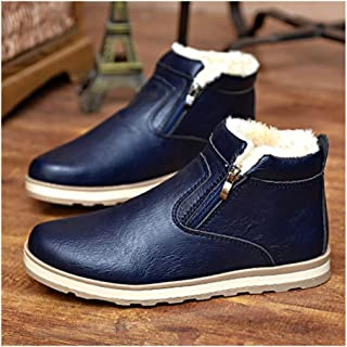 Sunny&Baby Ankle Boots for Men Winter Cotton Boots Pull on PU Leather Solid Color Wear Resistant Round Toe Anti-Skid Side Zipper Flat Heel Durable (Color : Blue, Size : 7 UK)