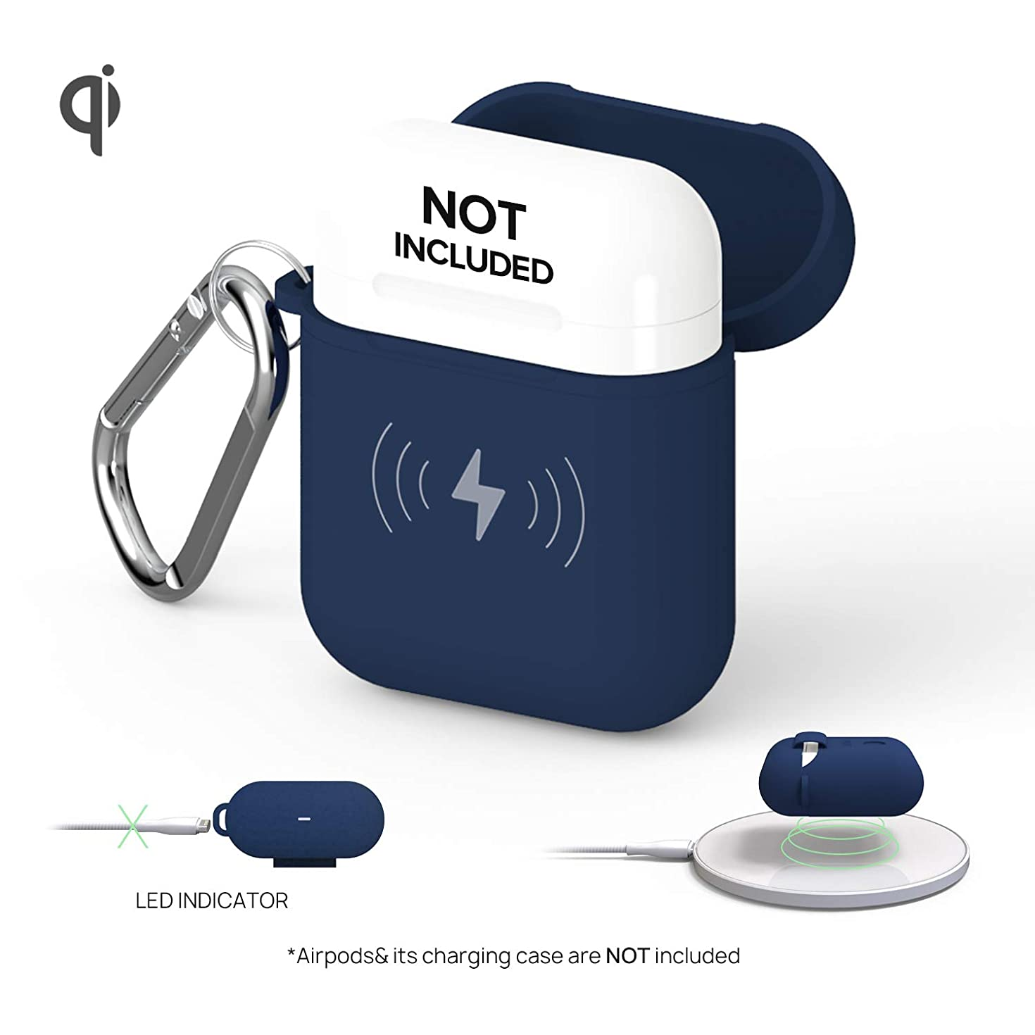GAZEON Qi Wireless Charging Airpods case | Protective Case Holder Compatible with AirPods (Midnight Blue)