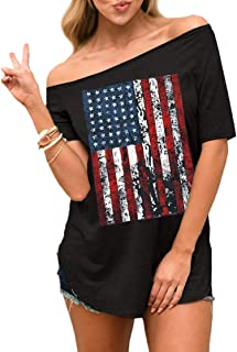 940349c9 Spadehill Women's July 4th American Flag Love Graphic Off Shoulder Tops