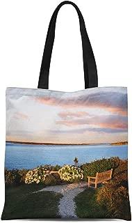 Semtomn Cotton Canvas Tote Bag Looking Towards Martha Vineyard From Nobska Point Cape Cod Reusable Shoulder Grocery Shopping Bags Handbag Printed