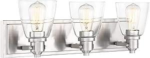 "Osborne Modern Wall Light Brushed Nickel Hardwired 24"" Wide 3-Light Fixture Clear Glass for Bathroom Vanity Mirror - Possini Euro Design"