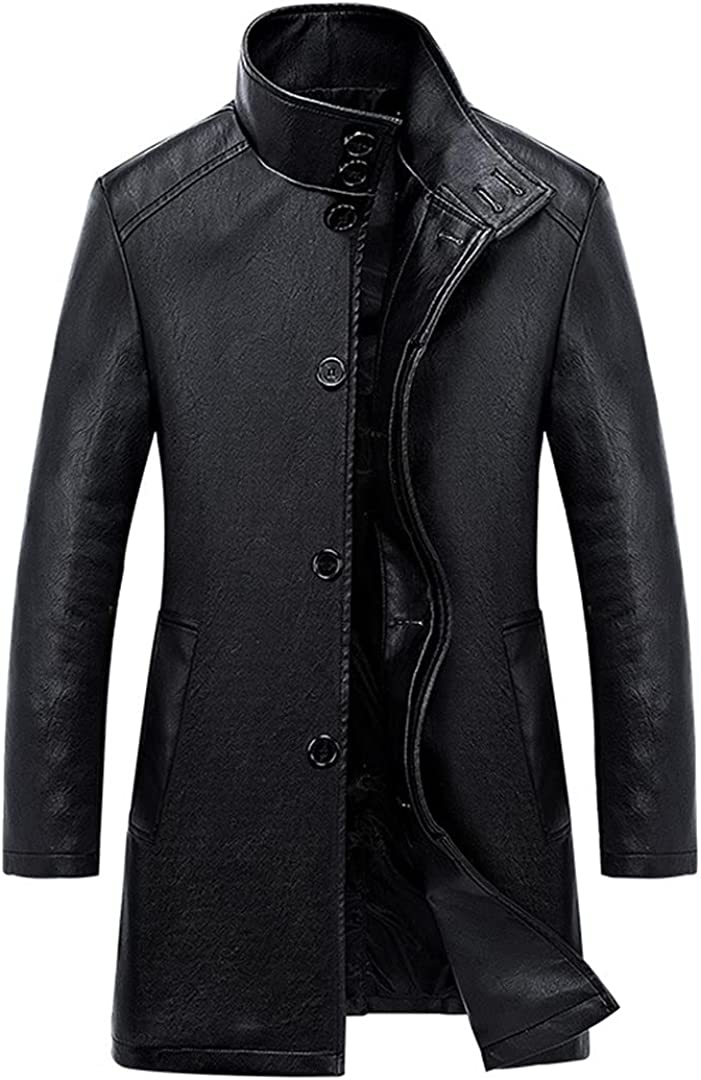 Men's Leather Jacket Autumn Long Section Slim Leather Trench Coat Male Solid Color Leather Jackets