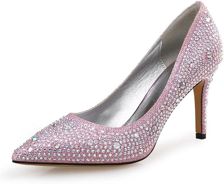 Frauen High Heels Strasssteine Pointy-Nosed Hochzeit Ball Schuhe