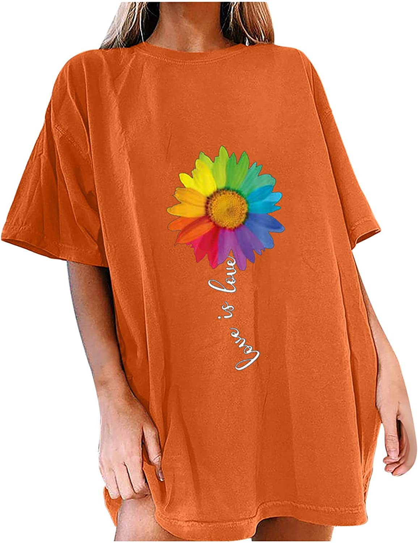 Women's Summer Popular product Oversized Tops Short Sleeve T-Shirt Rainbow Rapid rise Print