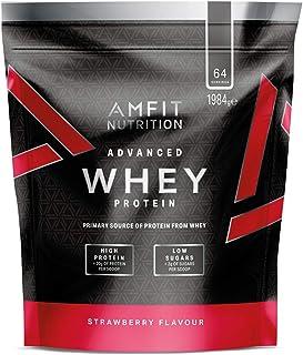 Amazon Brand - Amfit Nutrition Advanced Whey Protein Powder - 64 Servings (Strawberry)