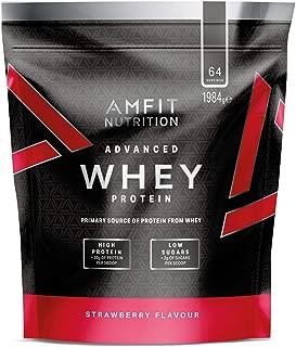 Marca Amazon - Amfit Nutrition Proteína Whey de suero de leche sabor fresa, 64 porciones,  1980 g