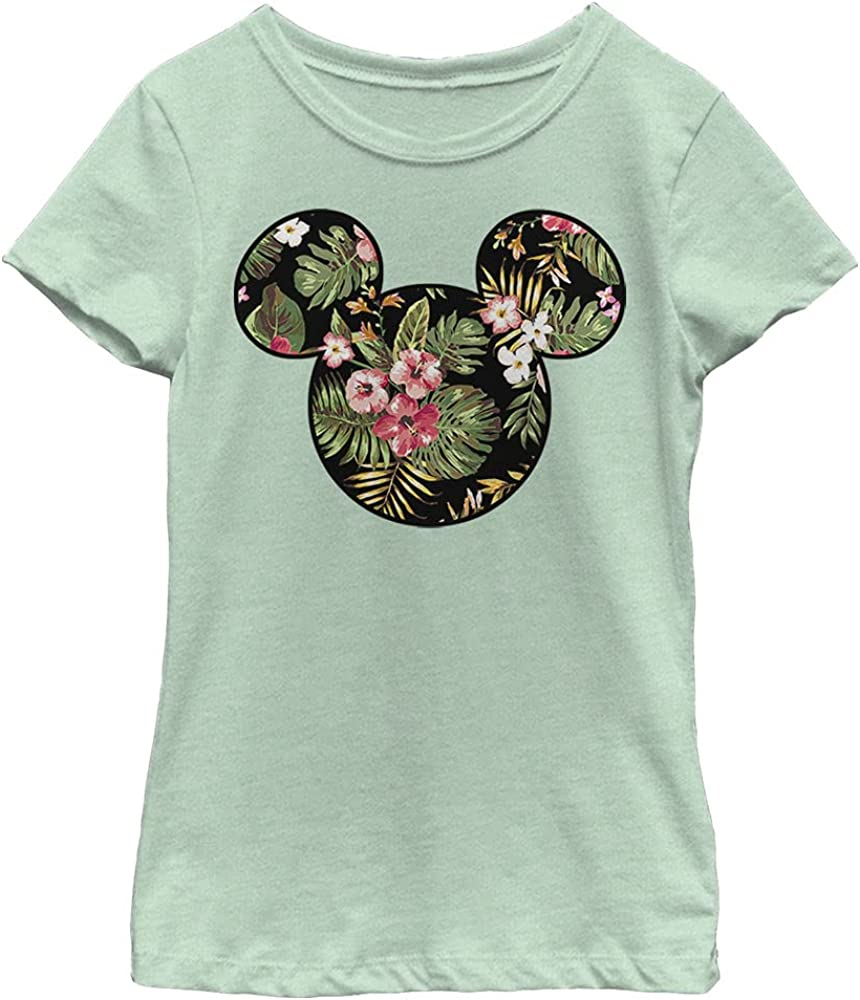 Disney Characters Floral Mickey Girl's Heather Crew Tee