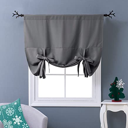 "NICETOWN Thermal Insulated Blackout Curtain - Grey Tie Up Shade for Small Window, Window Valance Balloon Blind (Rod Pocket Panel, 46"" W x 63"" L)"