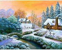 大人のための刻印されたクロスステッチキット初心者雪のシーン11CTプレプリント用品フルレンジDIYニードルポイント手工芸品子供の家の装飾16x20インチ