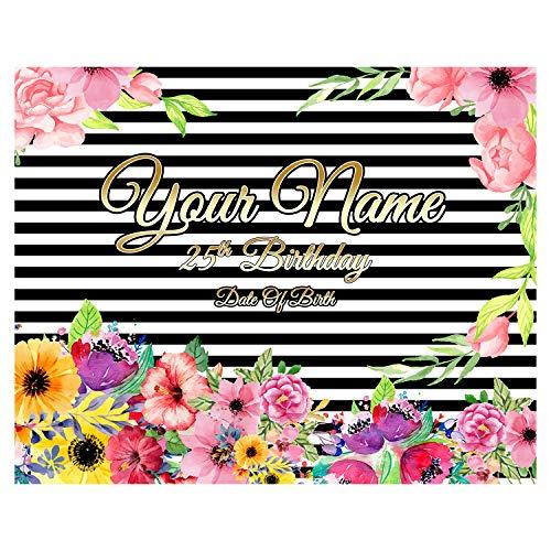 BANNER BUZZ MAKE IT VISIBLE Happy 25th Birthday, Fondo de fotografía Personalizado, diseño Floral, decoración de Fiesta para niños, Adultos, Pancarta de Paso y repetición, Solo impresión