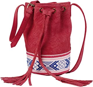 La Redoute Collections Womens Suede Bucket Bag with Tribal Detail Red Size One Size
