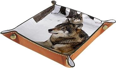 KAMEARI Skórzana taca wilk wzór klucz telefon moneta pudełko skóra bydlęca taca na monety praktyczne pudełko do przechowyw...