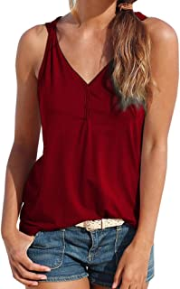 23eb2204a0 COOKI Women Tank Tops Shirts Teen Girls Sleeveless V Neck Strappy Summer Henley  Shirt Button Beach