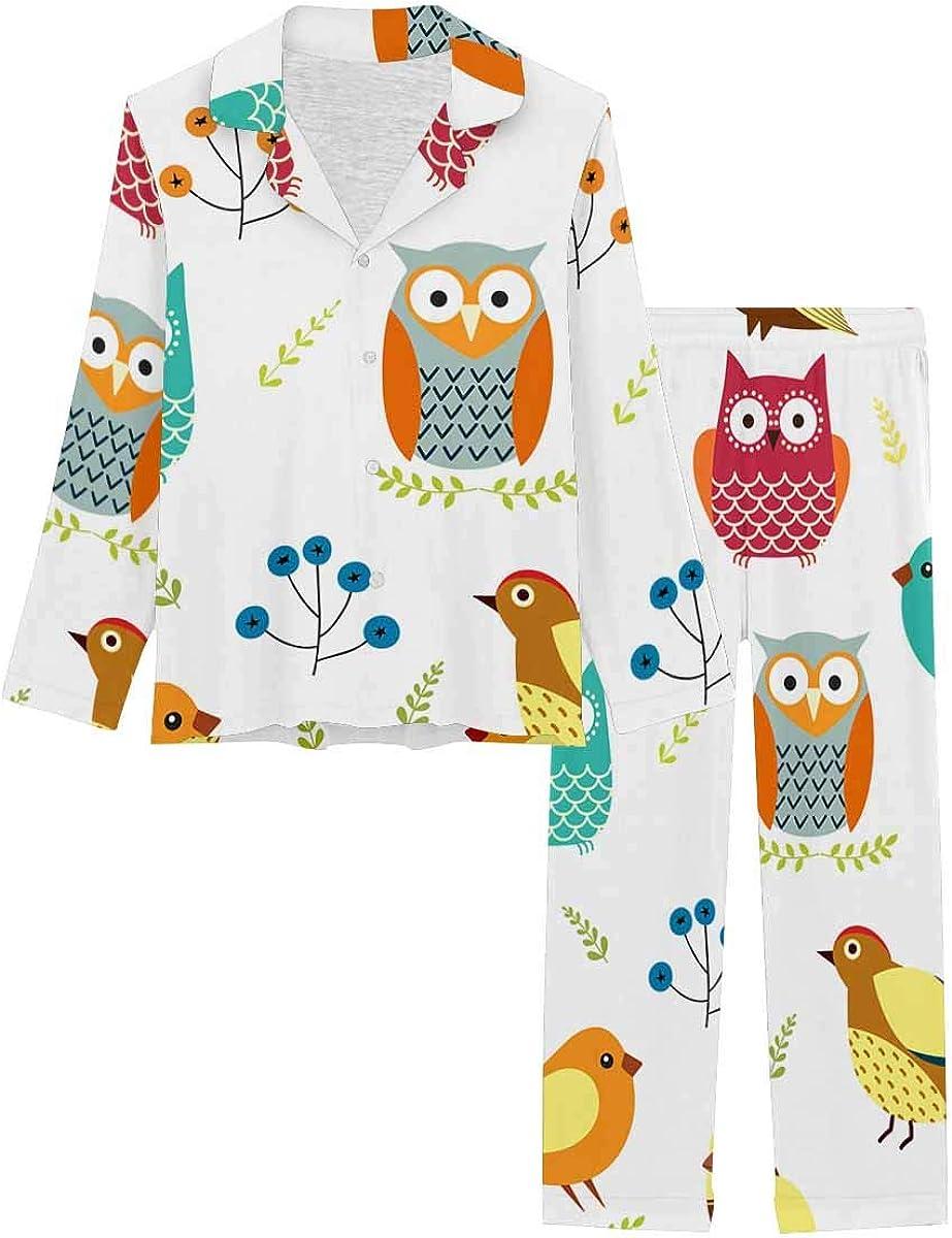 InterestPrint Notch Collar Soft Sleepwear Pj Set for Women Owls, Birds and Branches