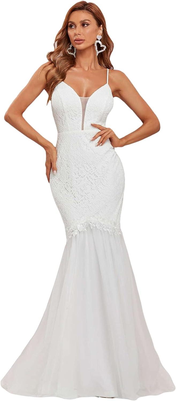 Ever-Pretty Women V Neck Spaghetti Straps Floral Lace Bodycon Tulle Wedding Dress 90331