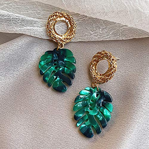jiao Simple Green Color Tropical Monstera Leaf Shape Earrings For Women Resin Leaves Plants Drop Earrings Party Jewelry AsThePicture