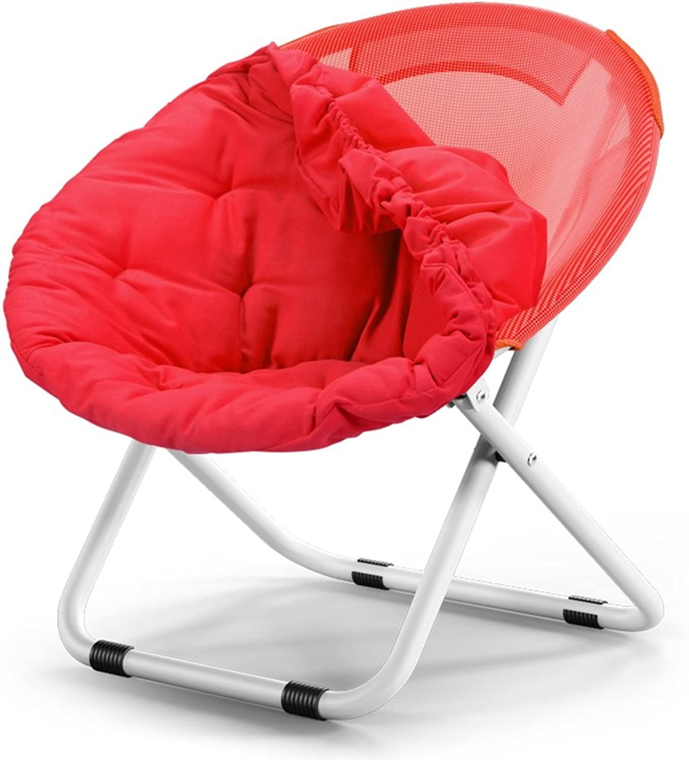 GLJ Adult Moon Chair Sun Chair Lazy Chair Recliner Folding Chair Round Chair Sofa Chair Folding Chair (color   pink red)