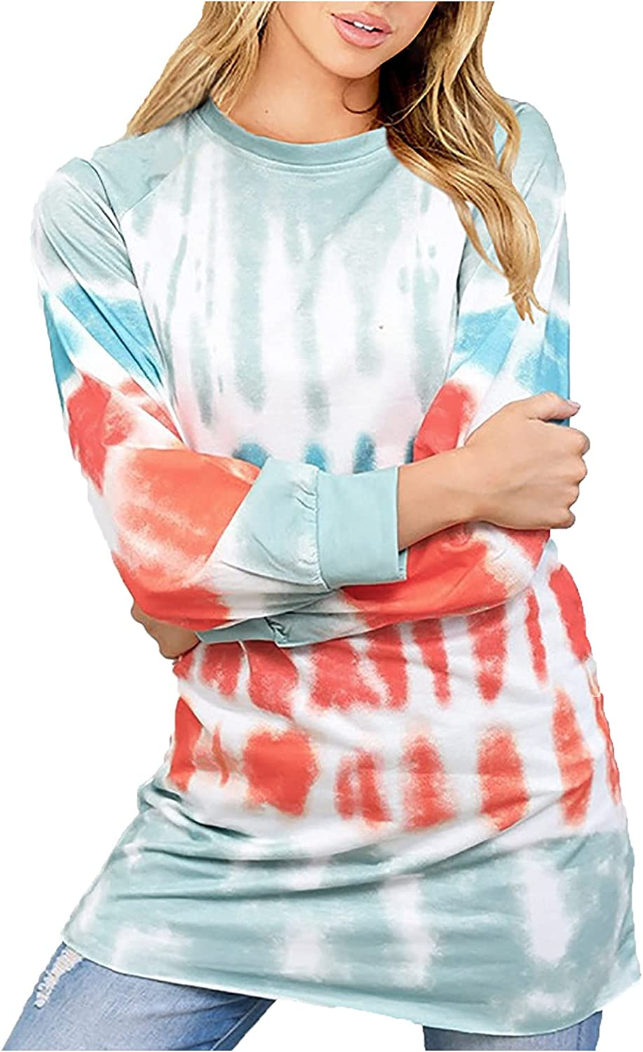 Autumn Pullover Tops for Women's Long Sleeve Crewneck Stripe Tie Dyed Print Shirts Fashionable Long Sweatshirt