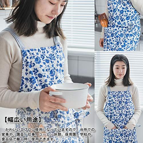 女性エプロンかわいいエプロン女性用エプロンリネンリネン青い花柄エプロン