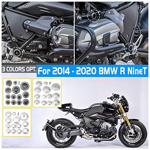 FATExpress R9T Accessoires Pièces Moto CNC En Aluminium Décoration Cadre Trou Bouchon Bouchon Insérer Couvercle Set Kit pour 14-20 B-M-W R Nine T NineT 2014 2015 2016 2017 2018 2019 2020 (Noir)
