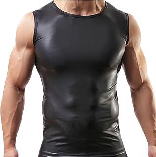 (フィーショー)FEESHOW メンズタンクトップ ボディービル 筋肉ショー エナメル質 スクウェアネック タンクトップ 袖なし ストレッチ スポーツウェア ジムウェア ベスト