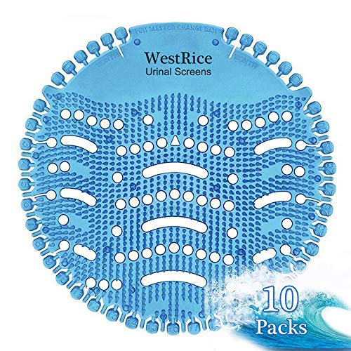 Urinal Screen Deodorizer 10 Pack, Fresh Scented Urinal Screen,Anti-Splash Urinal Mat, Urinal Cake Scent Lasts 5,000 Flushes - Ideal for Bathrooms, Restrooms, Office, Restaurants, Schools (Blue)