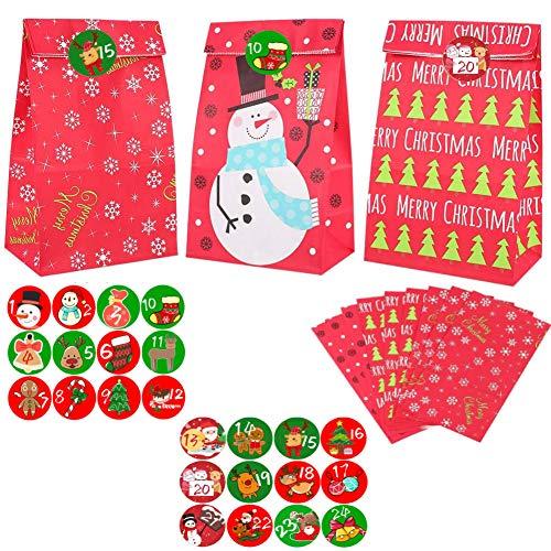 24pcs Adventskalender zum Befüllen,Adventskalender Tüten mit 24 Zahlenaufklebern, Weihnachten Geschenksäckchen,Geschenk Papiertueten,Weihnachtskalender Papiertüten,Weihnachtskalender Bastelset