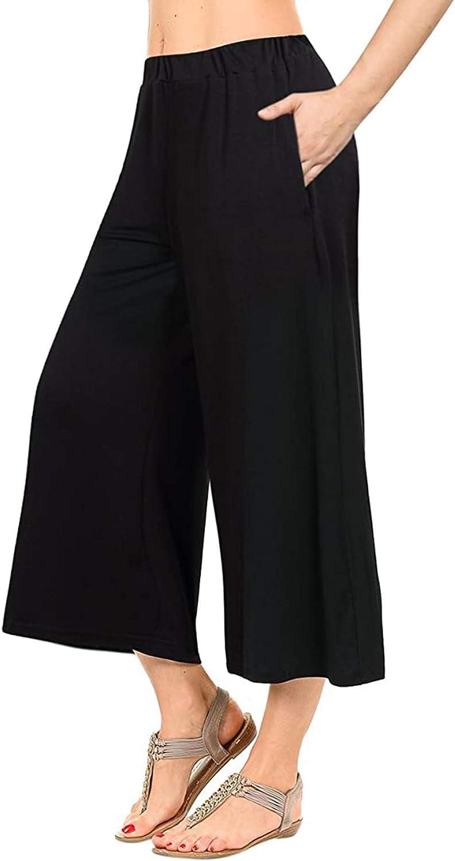 RED DOT BOUTIQUE 916 - Plus Size Elastic Waist Solid Palazzo Casual Wide Leg Capri Pants Capris with Pockets
