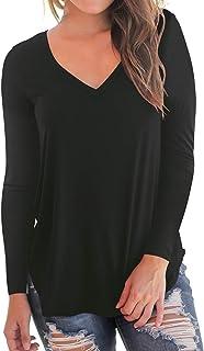Women's Long Sleeve T-Shirt Casual V-Neck Loose Baic Tee...