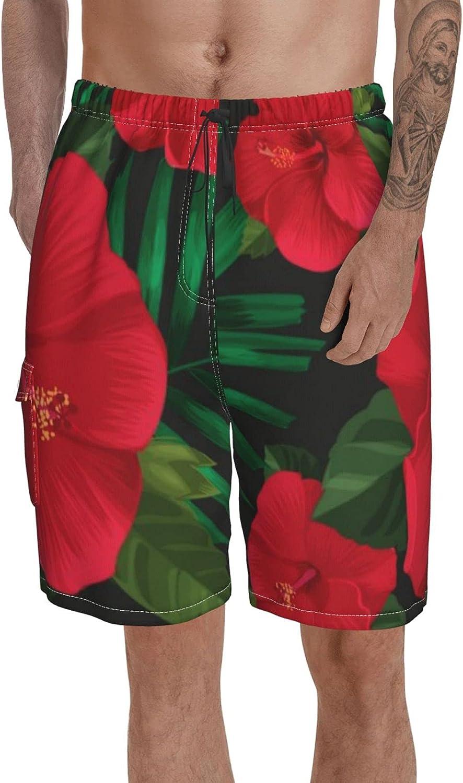 Men Swim Trunks Classic Boardshort Floral Elastic Waist Volley Shorts for Summer