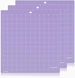 Funnygame Cutting Mat 12x12 for Silhouette Cameo 3/2/1(Stronggrip, 3 Pack), Adhesive Cutting Mat with Non-Slip Flexible Square Gridded Purple Cut Mat Perfect for Cameo