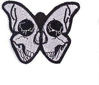 KUSTOM FACTORY - Toppa con teschio e farfalle, 7,6 x 6,1 cm, colore: Nero e Bianco
