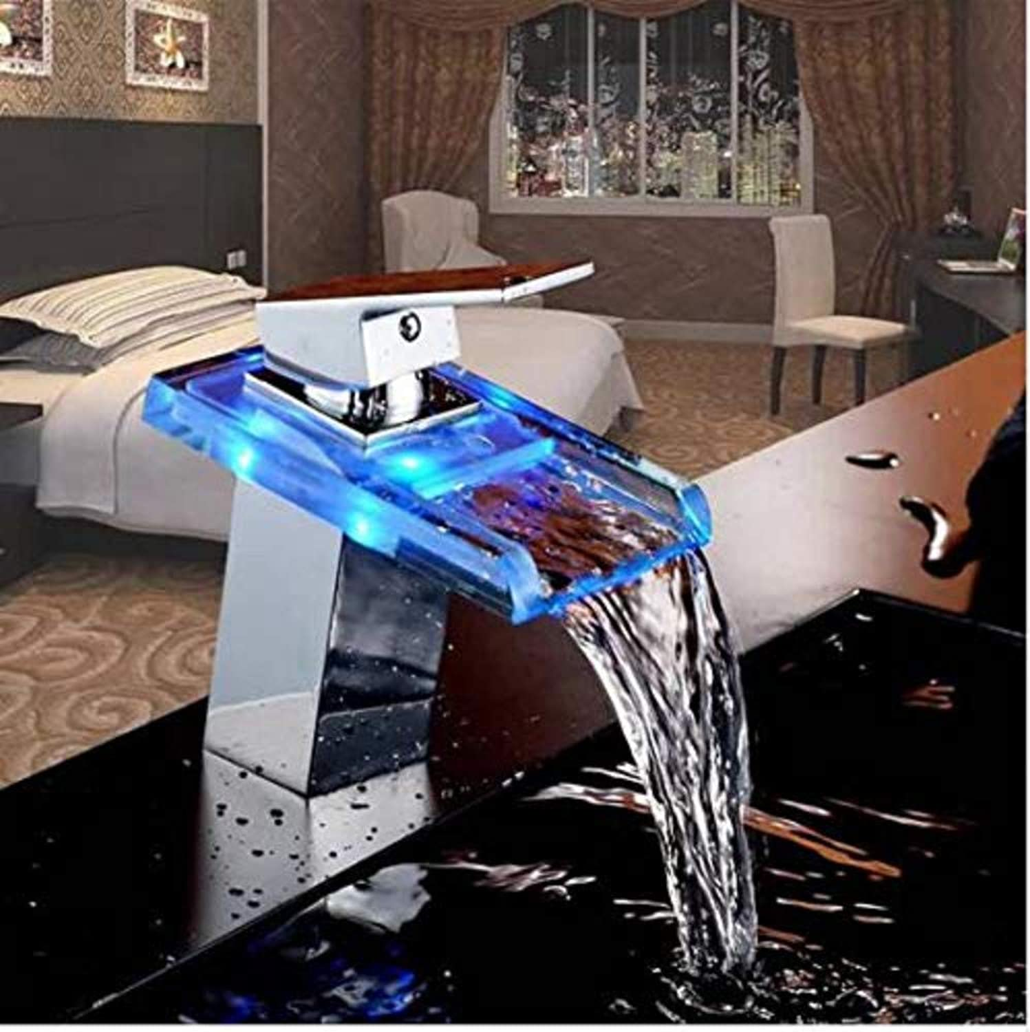 Hot and Cold Chrome-Plated Brass Kitchen Bathroom Waterfall Led Faucet Glass Waterfall Brass Basin Faucet Bathroom Mixer Tap Deck Mounted