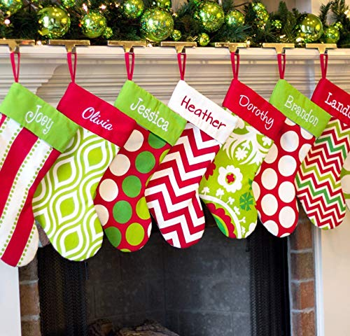 "Personalized 19"" Christmas Stocking Red, Lime, White & Green Patterns"