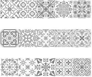 Decorativos Adhesivos para Azulejos Pegatina de Pared - Estilo clásico europeo Cenefa Autoadhesivo- para Baño y Cocina - 2...