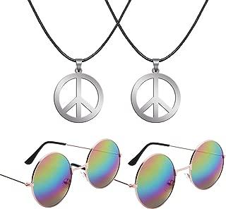 Sunshane Hippie Dressing Accessory Set 2 Pair of Hippie Glasses and 2 Pair of Hippie Style Peace Sign Necklaces (Rainbow)