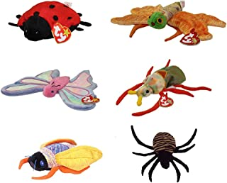 TY Beanie Babies - BUGS (Set of 6) (Flitter, Glow, Lucky, Scurry, Spinner, Twitterbug) (5-10.5 in)