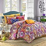 Chic Home Mumbai 8-Piece Reversible Comforter Set Printed Luxury Bed in A Bag Size, King, Fuchsia
