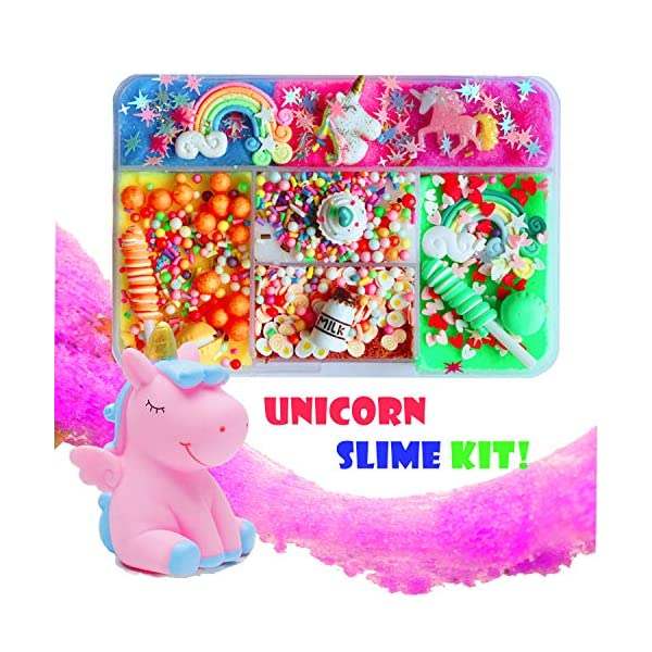 Unicorn Slime Kit for Girls to DIY Cloud Slime Kit Supplies Stuff Include 7 Colors Cloud Slime, Unicorn Toys, Colorful Foam Balls, Candy Cakes, Fruit Slices, Stars, Rainbow, Milk Bottle, Glitter Pack. 3