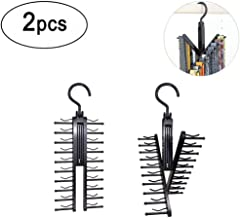 Xhbear Black Tie Belt Rack Organizer Hanger Non-Slip Clips Holder With 360 Degree Rotation,Securely Up To 20 Ties(2Pcs)