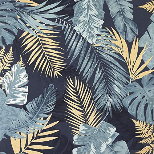 Palmiers tropicaux doux Papier Peint Bleu/Or Arthouse 297203