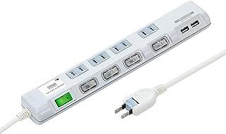 サンワサプライ USB充電ポート付き節電タップ(面ファスナー付き) 2P・4個口 3m TAP-B107U-3W