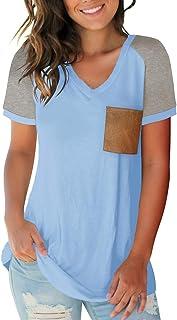 Womens Summer Basic Short Sleeve V Neck Color Block...