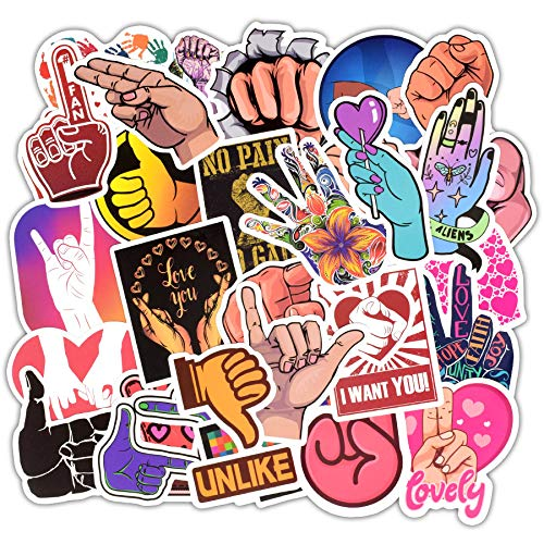 Ratgoo 50 Pcs Cute Cool VSCO Hand Finger Gesture Stickers to Boys Teens Kids Girls Women Adult Funny Laptop Water Bottle Computer Mac Phone Case Skateboard Luggage Air Conditioner Stickers