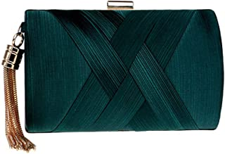 Ladies' Simple Dress Clutch, European and American Silk Ladies' Banquet Clutch, Ladies' High-End Dinner Bag, Party Decoration Evening Bag (17.5 * 7 * 11Cm),Green