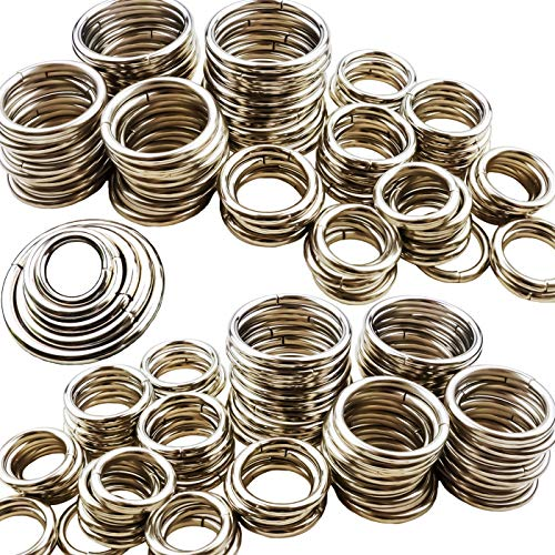 YG_Oline 100 Pcs Craft Metal Rings, Multi-Purpose Silver Steel O Rings Craft Weave Art DIY Dog Leashes Camping Belt Keychain Accessories Decorations Supplies