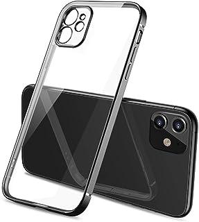 Oihxse Funda Transparente Compatible con iPhone 11 Carcasa Silicona TPU Suave Brillantina Enchapado Cuadro Cover Ultra Del...