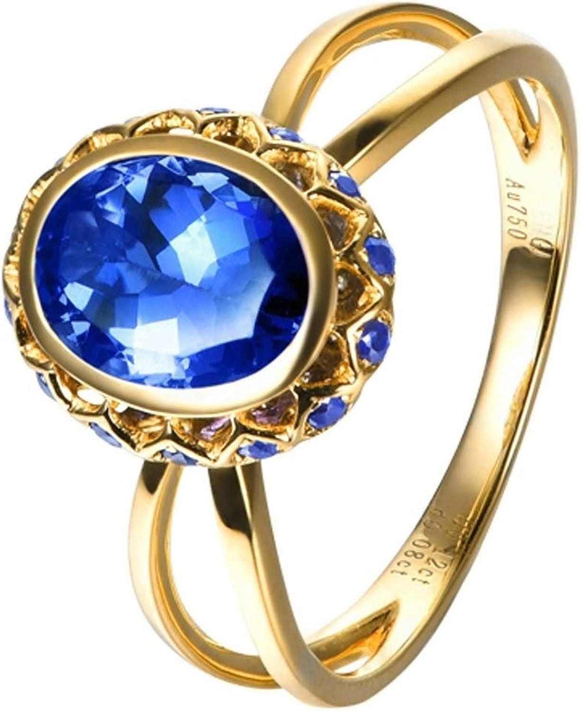 Epinki Women 18k Yellow Gold Ring 1.32CT National uniform free shipping Oval X Tanza Blue At the price Cross