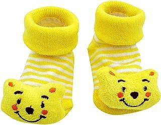 Lovelegis, Calcetines antideslizantes para niños - bebés - 0/12 meses - fantasía - oso amarillo - hombre - mujer - unisex - idea de regalo de cumpleaños